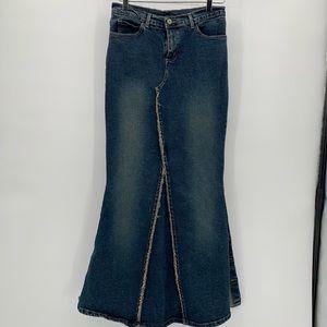 Vintage Denim Mermaid Button Side Slits Skirt